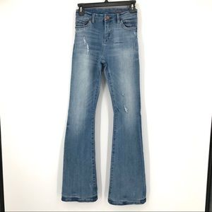 Blank NYC distressed high rise flare leg jeans